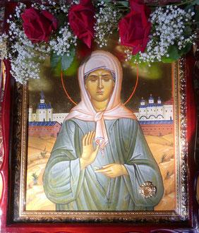 Ikone der Hl. Matrona von Moskau mit Reliquie der Heiligen