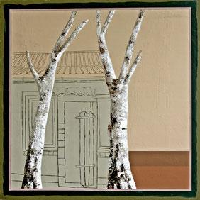 Andrea Imwiehe, 06_Waldheimat, 2012, 40 x 40, Acryl auf Holz