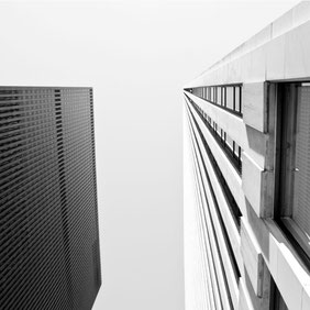 Monochrome architecture art print 'Looking Up In New York' by PASiNGA