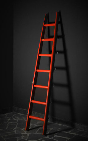 Scala a pioli colorata con ganci in acciaio - Wood ladder for home decor in custom color with steel hooks