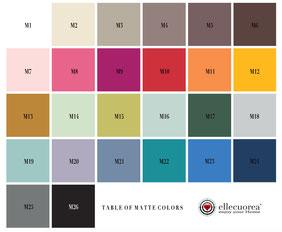 Tabella colori per scale a pioli in legno personalizzate - Matte colors for custom wood ladders