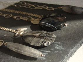Silberkette grau schwarz Edelstein sumaju