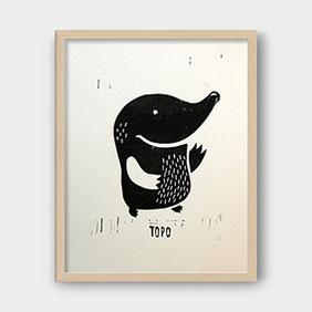 Linoldruck auf Fotokarton – TOPO der Maulwurf