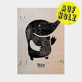 Topo der Maulwurf – Linoldruck auf Holz