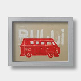 Linoldruck auf Fotokarton – VW Bulli