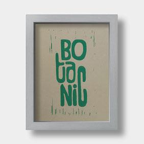 Linoldruck auf Fotokarton – BOTANIC Schriftzug