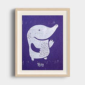Topo der Maulwurf – Linoldruck auf Fotokarton