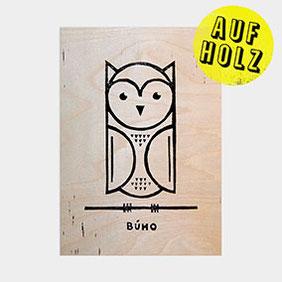 Linoldruck auf Holz – Bùho die Eule