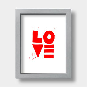Linoldruck auf Fotokarton – LOVE