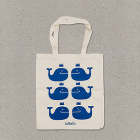 Ballenito Stofftasche natur mit Wal-Muster in blau