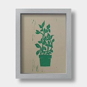 Linoldruck auf Fotokarton – Pflanze