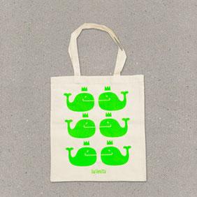 Ballenito Stofftasche natur mit Wal-Muster in neon-grün
