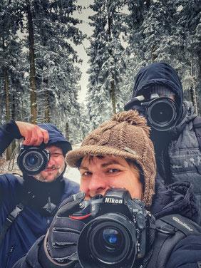 Wir, das FOTOTOUR THÜRINGEN Team beim Winterausflug im Thüringer Wald