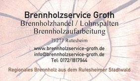 Brennholzservice Groth Rutesheim Visitenkarte