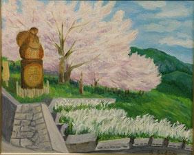 春の玉祖神社 油彩15号
