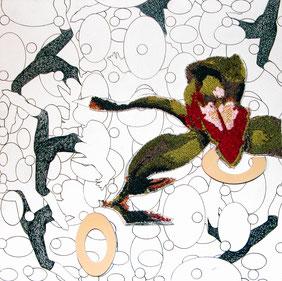 Tänzerinnen und Orchidee, 2009. (Maschinenstickerei / Schaumstoff / Tusche / Holz, 20 x 20 cm. Privatbesitz)