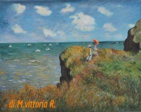 Clifftop walk at Pourville, copia d'autore C. Monet, olio su tela cm 40x50 anno 2016 COLLEZ. PRIVATA