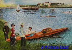 canottieri a Chatou,  Renoir, olio su tela cm 35x50 anno 2007