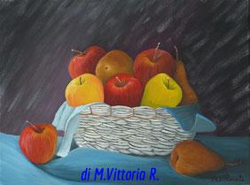 mele e pere, olio su tela cm 30x40, 2006