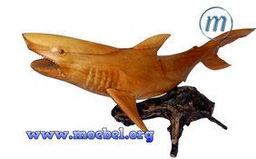 Schnitzkunst, Dekoration, Geschenkartikel für Taucher, Haifisch aus Holz