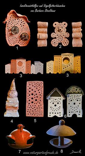 Nisthilfen Insektennisthilfen Insektenhotel gebrannter Ton insect nesting aid insect hotel mason bee terra cotta