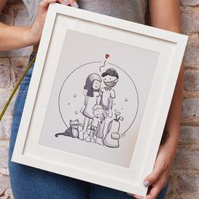 Familienporträt Comic Porträt 2 Personen Haustier
