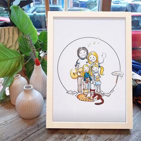 Familienporträt Comic Porträt Familie Haustier