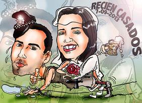 Caricatura pareja, a color: 40€