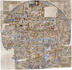 Ebstorfer Weltkarte: Das Weltbild im Mittelalter kennt keine Trennung von Mythos und Logos und keine Trennung von Diesseits und Jenseits.
