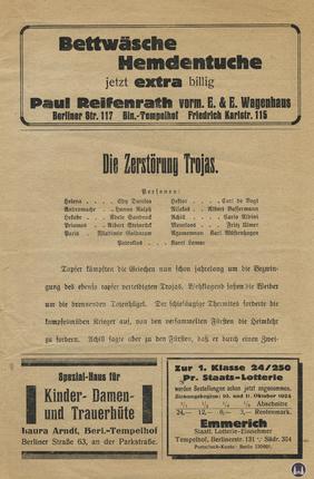 Das Tempelhofer Tivoli an der Friedrich - Karl - Straße. Kinoprogramm Seite 3.