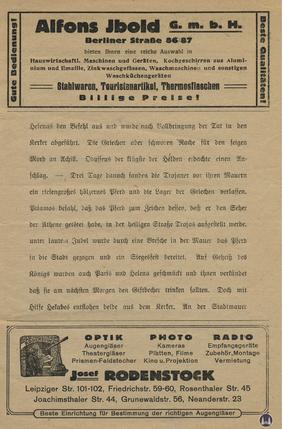 Das Tempelhofer Tivoli an der Friedrich - Karl - Straße. Kinoprogramm Seite 5.