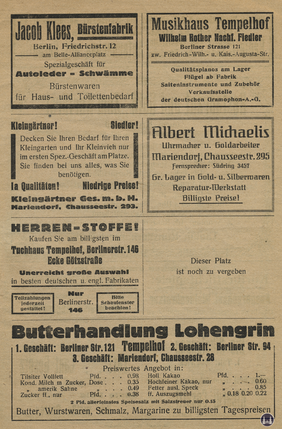 Das Tempelhofer Tivoli an der Friedrich - Karl - Straße. Kinoprogramm Seite 7.