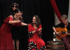 Szene aus der Flamenco-Aufführung beim spanischen Sommerfest am 20.07.2013 im Tanzstudio La Fragua mit Uschi & Maruscha / Color-Foto by Boris de Bonn