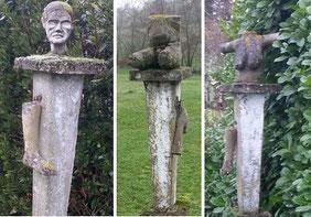 La femme en morceaux: la tête et une jambe / le tronc et un bras / le buste et l'autre jambe