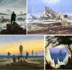 """Friedrich : """"Le voyageur contemplant une mer de nuages"""", """"La Mer de Glace"""", """"Les étapes de la vie"""", """"Romantik"""""""