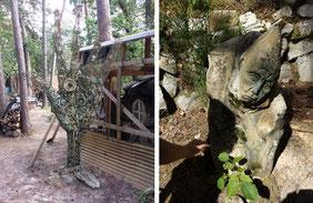 Quelques rares sculptures implantées dans le sol restent encore en place