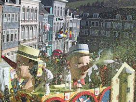 Pinocchio-Karnevalswagen beim Laetare in Stavelot