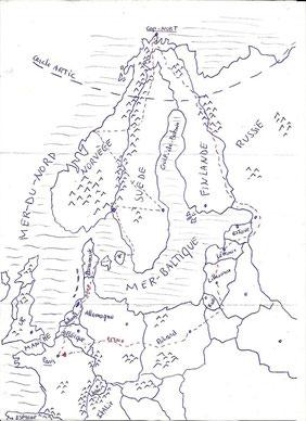 Louis Prévosts Reiseroute (von ihm selbst gezeichnet)