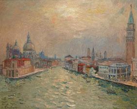"""Andre Hambourg """"Fin de jour sur le Grand Canal"""" 1960  Huile sur toile 65 x 81 cm Catalogue Raisonné Tome I  VE 92, page 322"""