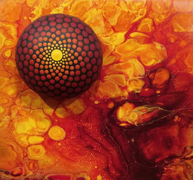 """© Rosenbaum """"Keramikstein auf Acrylic Pour"""""""