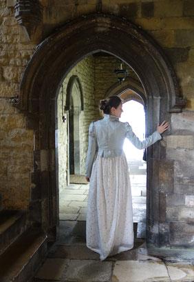Spencer und Musselinkleid, Stamford Georgian Festival. Jane Austen era, Regency Mode, 19. Jahrhundert. Foto: Charlie Wilkins