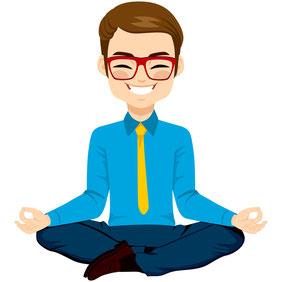 Ein lächelnder Büromensch in meditativer Sitzhaltung als Symbol für Business Yoga. Bild Kakigori Studio/Fotolia