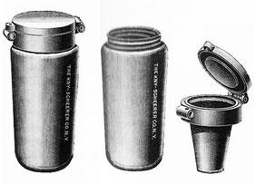 Taschenspuckflasche aus Aluminium, 1901
