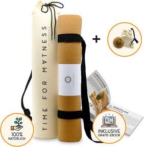 aGreenie® Premium Eco Yogamatte Tasche Set - Kork Naturkauschuk