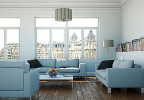 Wohnraum mit Schalldämmglas