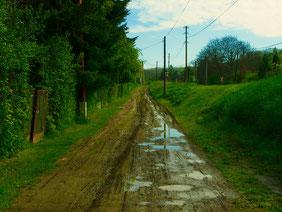 die Strasse hinauf nach Madyarku