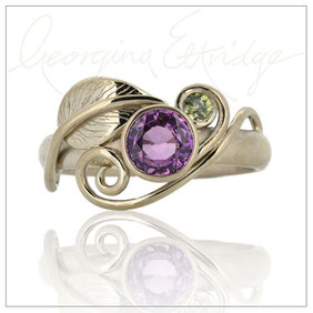 Leaf lovers Engagement Ring - 18ct White Gold with Purple & Green Sapphires