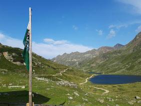 Ausblick von der Terrasse der Giglachseehütte auf die Giglachseen, Aufstieg von der Ursprungalm