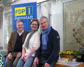 Christoph Hentzen, Sandra Klein, Norbert Lamp am FDP Stand