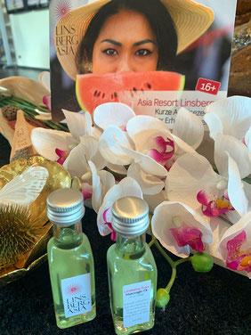 Gratis-Extra für WIR REISEN WIEDER! Leser: 1 Fläschchen  Linsberg Asia Massage-Öl